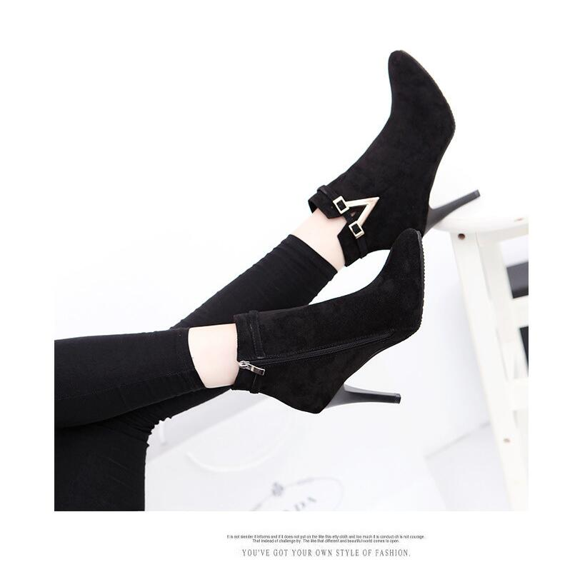 Spring Autumn Stiletto Thin High Heels Pointed Toe Faux Leather Zipper Style Ankle Women Boots