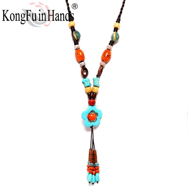 Bohemia Vintage long pendant Necklace Ethnic jewelry Beads Sweater chain exaggerated accessory Friendship - Style Lavish
