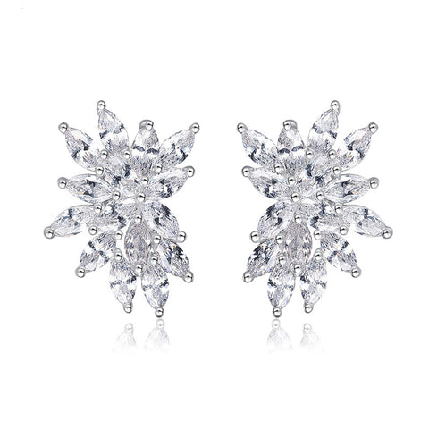 White Gold Color Cubic Zirconia Lovely Flower Oval CZ Piercing Stud  Earrings Jewelry For Women