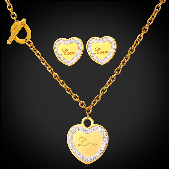 Simple Fashion Love Heart Necklaces & Pendant Earrings Set Women 316L Stainless Steel Jewelry