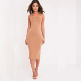 Sheath Bandeau Basic Midi Dress Women Strapless Summer Dresses Elegant Slim Bodycon Dresses