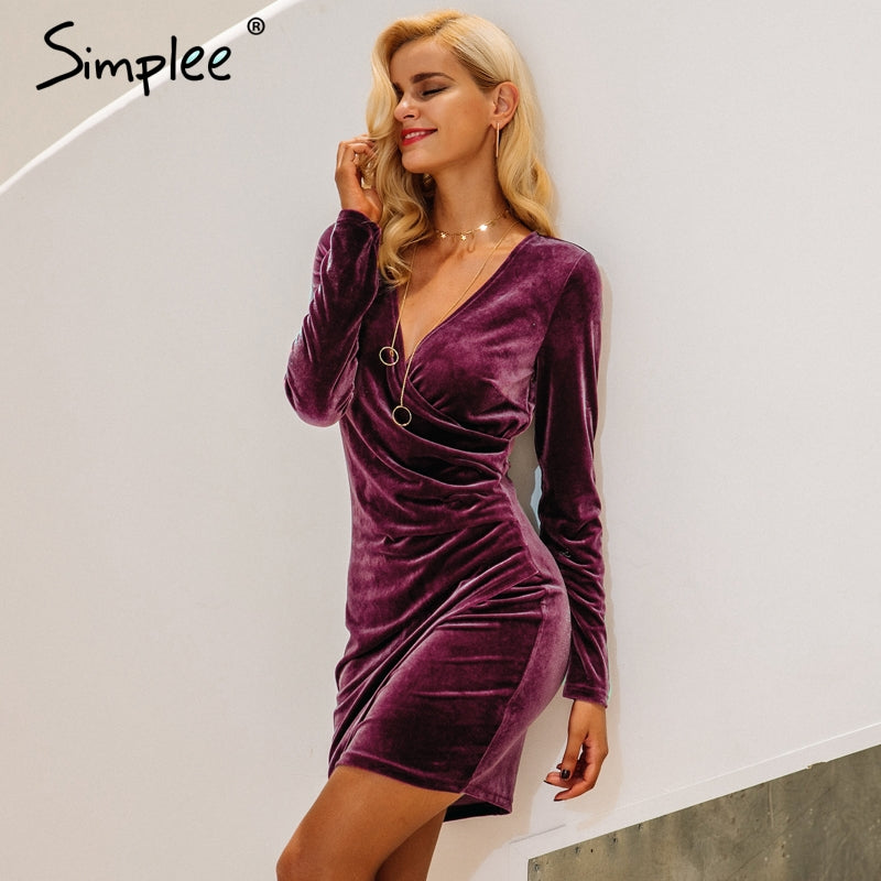 Velvet Soft Deep v Neck Bodycon Vintage Autumn Winter Dress Women Long Sleeve Dresses