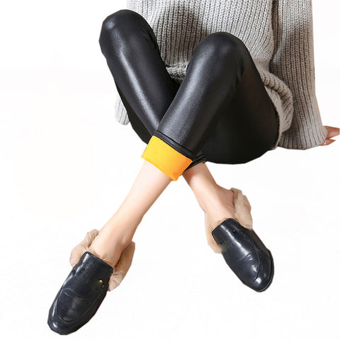 Women Faux Leather Jeans Winter PU Leather Thick Velvet Stretch Slim Pencil Pants Hight Waist Tights Skinny Leather Pants