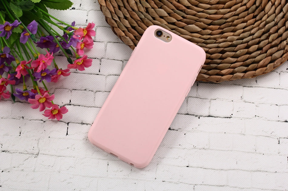 Macarons Color TPU Silicone Frosted Matte Case for iPhone 6 6S 5 5S SE 8 Plus X Soft Back Cover for iPhone 7 7Plus