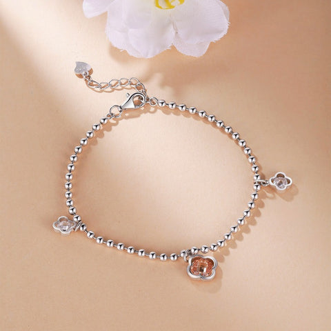 Women High Quality CZ Bohemia Bracelet Real 925 Sterling Silver Blacelet Fine Jewelry Lucky Clover Bracelets
