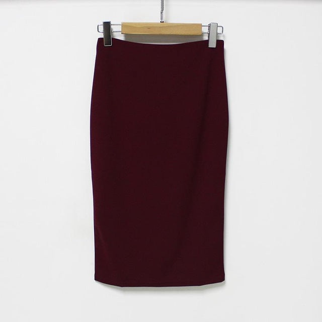 Fashion Elegant Women Midi Skirt Slim OL Open Slit Chiffon Pencil Skirt Knee-Length Office Lady Skirt - Style Lavish