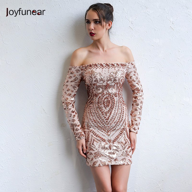 Elegant Sequined Dress Off The Shoulder Long Sleeve Ladies Sexy Chic Dress Outfit For women - Style Lavish