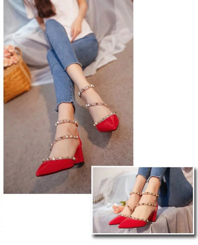 Women Pumps Fashion Design Rivets Sandals Comfortable Square High Heels Summer Autumn Heels
