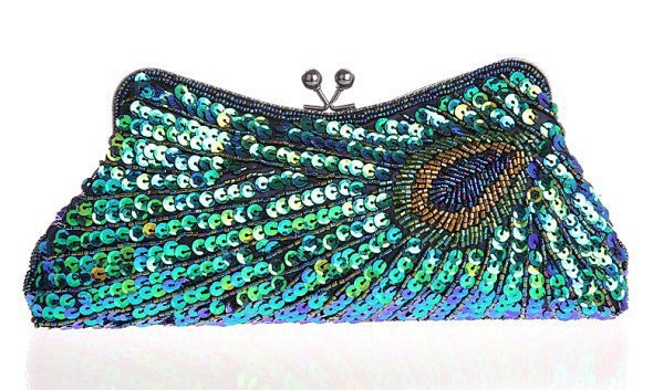 Vintage Peacock Pattern Women Evening Bags Sequins Beaded Mini Chain Handbag Luxury Party Clutch Wedding Purse