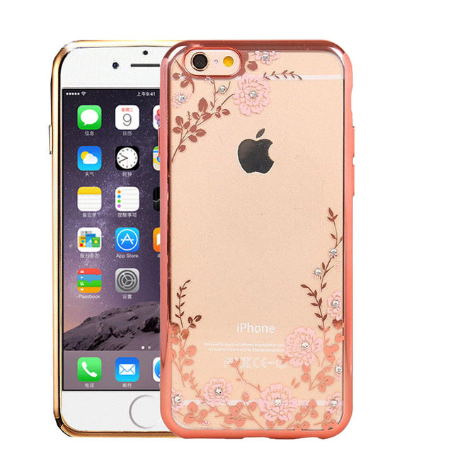 Luxury Secret Garden Flowers Rhinestone Cell Phone Cases For IPhone X 8 6 6S Plus 5 5S 4 4S 7 7 Plus Women Phone Case