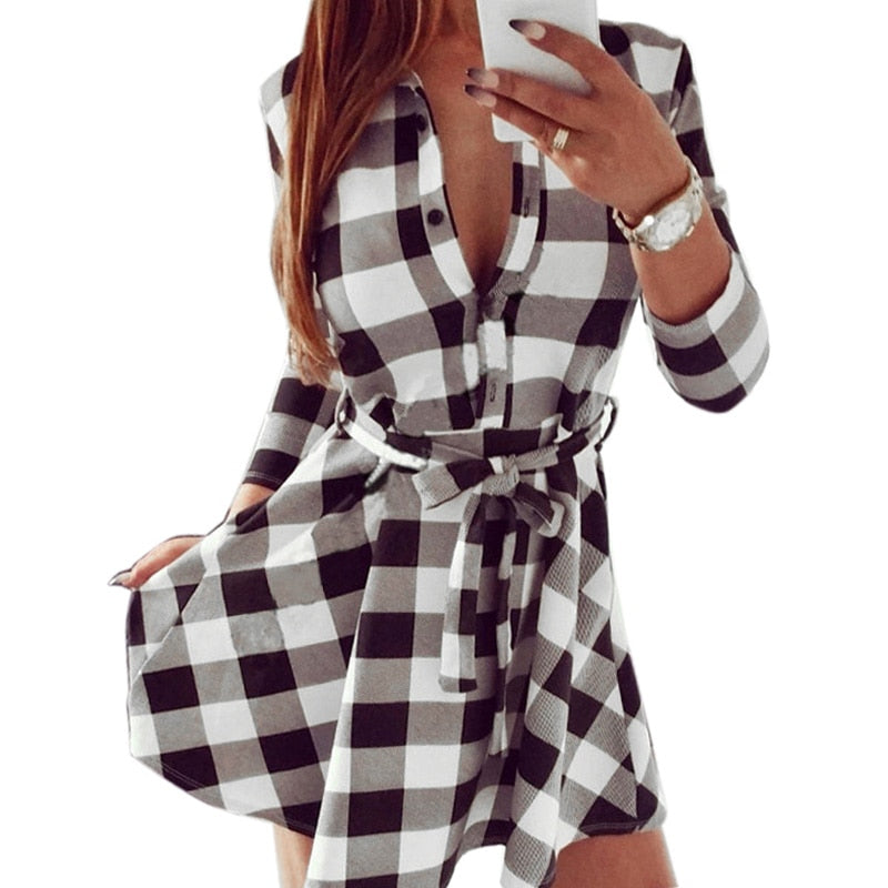 Spring Autumn Long Sleeve Blouses Dress Women Turn Down Collar Plaid Linen Pleated Dresses