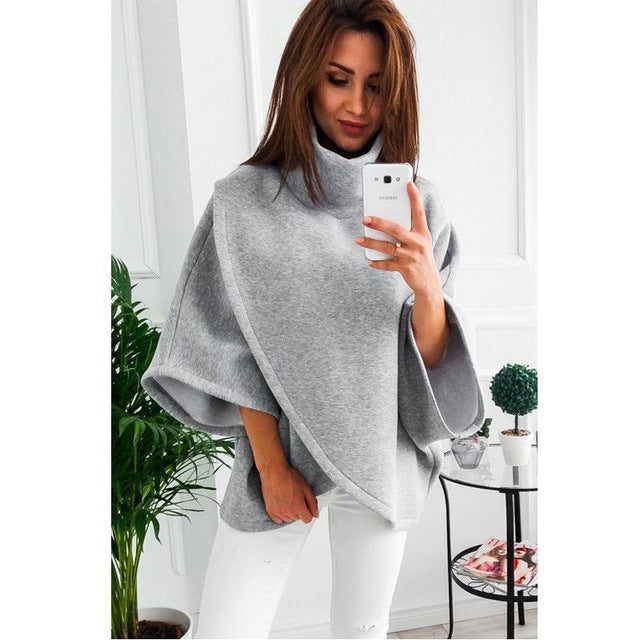 Winter Asymmetrical Warm Turtleneck Oversized Hoodies Sweatshirt Women Casual Loose Flare Sleeve Pullovers