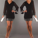 Women Fashion Party Dresses Long Sleeve Sequins Dress V Neck Casual Patchwork Black Short Dress