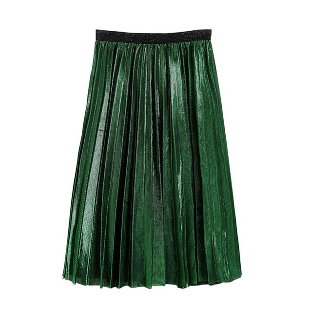 Women Metallic Silver Skirt Midi Skirts Pleated Flared Knee Length Skirt
