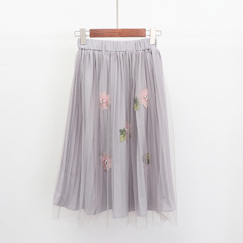 Women Spring Summer Pleated Mesh Skirt Student Elegant High Waist Chiffon Skirts Women Pearl Flowers Midi Skirts