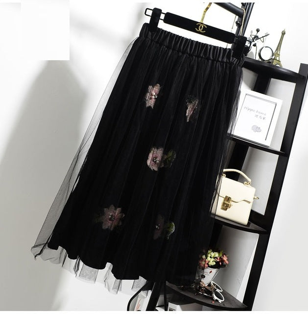 6faff568ee ... Women Spring Summer Pleated Mesh Skirt Student Elegant High Waist  Chiffon Skirts Women Pearl Flowers Midi ...