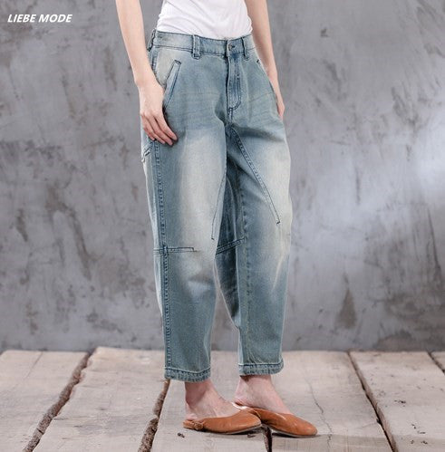 Women  Jeans Casual Mid Waist Loose Vintage Denim Harem Pants Woman Cotton Trouser