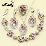4PCS 925 Sterling Silver Jewelry Set Flower Colorful Multicolor Stones Earrings Ring Necklace Pendant Bracelet - Style Lavish