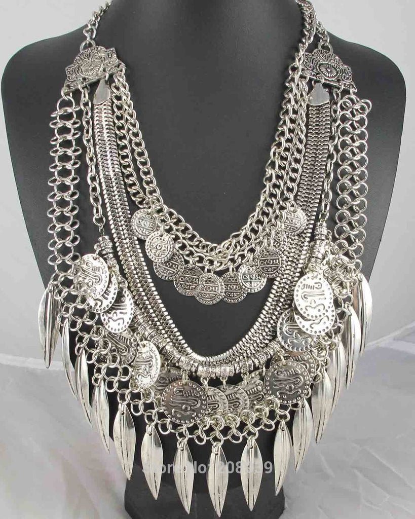 Handmade Fashion Bohemia Ancient Silver Pendants Bib Statement Women Choker Necklaces Q999