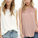 Women Summer Vest Lace Chiffon Blouse Tops Fashion Shirts Sleeveless Tank Tops