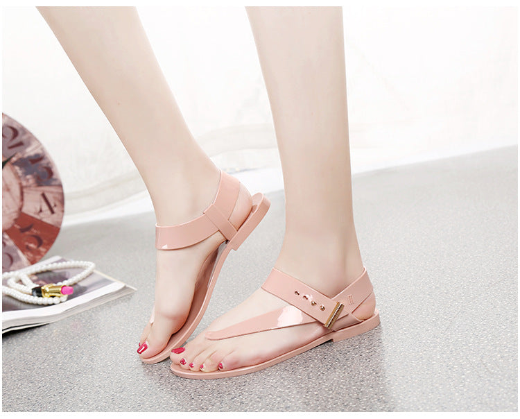 Women  Summer Sandals Bohemia Flat Shoes  Fashion Beach Sandals Solid Casual Shoes