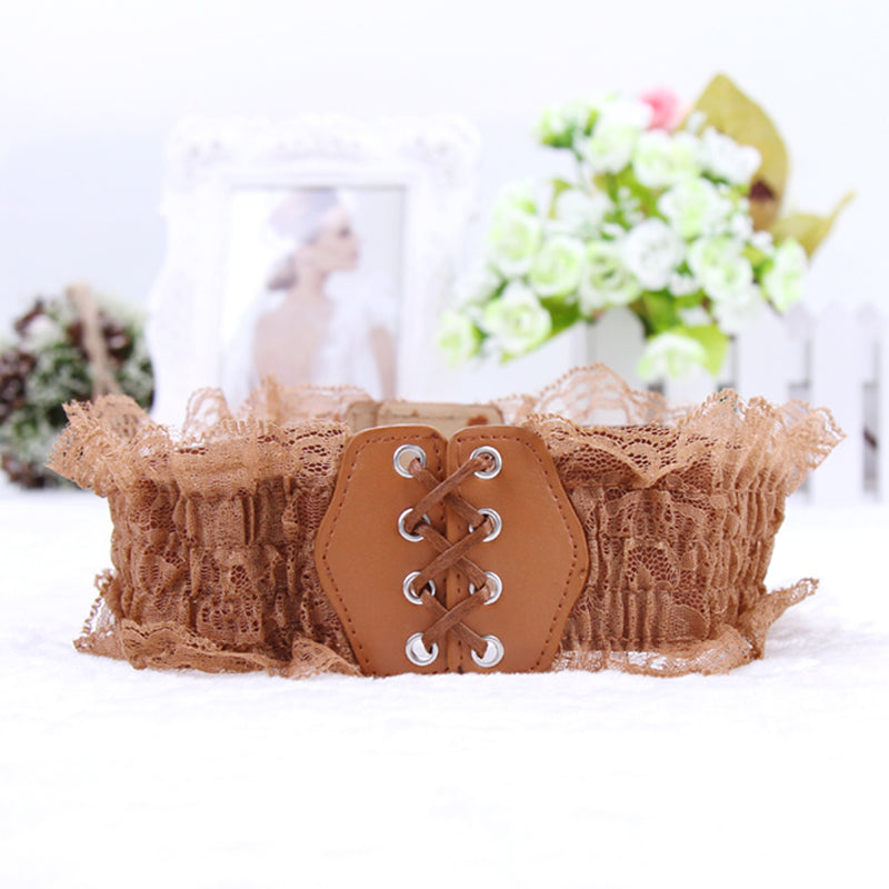 Belt Women  Lace Elastic Wide Waist Belts Summer Dress Women's Accessories Pu Leather Girdle Bands - Style Lavish