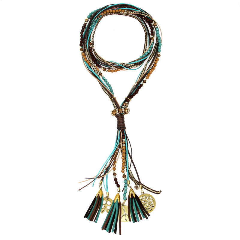 Handmade Braided Cord Beads Necklace Bohemian Tassel Pendant Long Necklace Fashion For Women