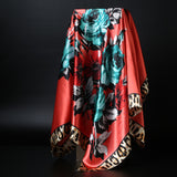 Large Hijab Scarf Women Fashion Flower Scarfs Square Oil Painting Print Satin Scarves New Head Handkerchief Shawl Wraps