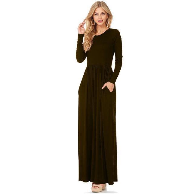 Autumn Winter Long Sleeve O-Neck Dress Women Clothes Tunic Long Dresses - Style Lavish