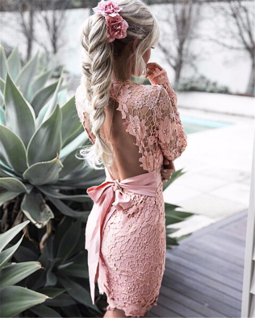 Black Pink Backless Deep V neck Lace Dress Fashion Embroidery Hollow Out Long Sleeve Elegant Women Dresses - Style Lavish