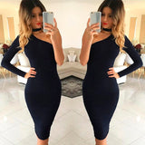 Autumn Dresses One Shoulder Halter Long Sleeve Women Pencil Dress Bodycon Party Dresses - Style Lavish