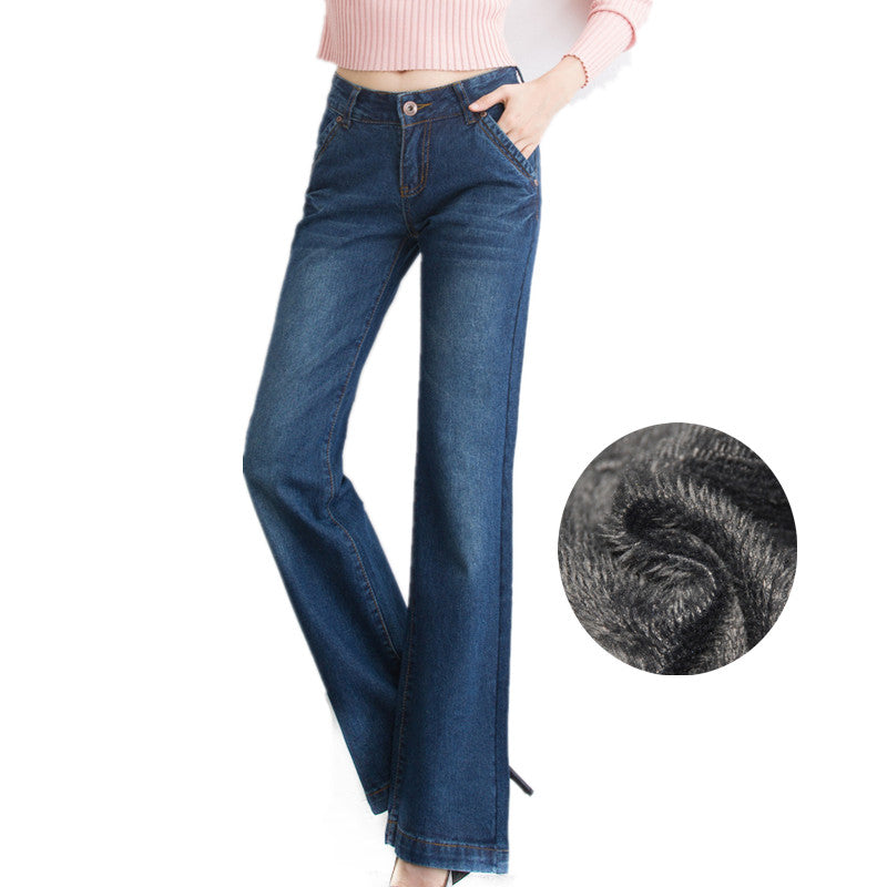 Winter Warm Thicken Fleece Flare Jeans for Woman Mid Waist Blue Wide Leg Velvet Long Pants Vintage Trousers