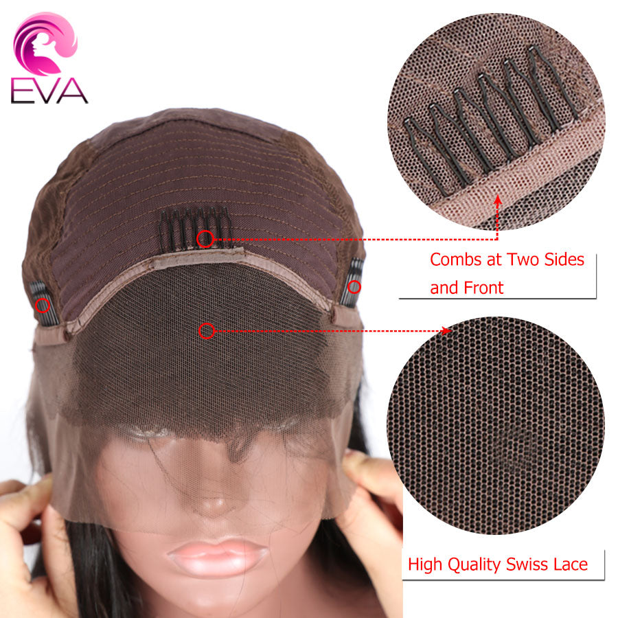 "Eva Hair Lace Front Human Hair Wigs Pre Plucked Hairline With Baby Hair Straight 8""-26"" Brazilian Remy Hair Wigs Natural Color - Style Lavish"