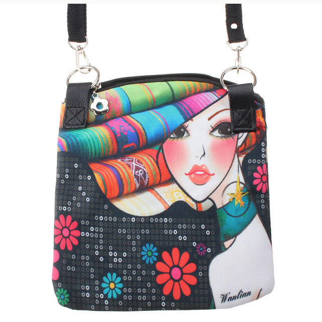 Girls Stylish Butterfly Print Messenger Bag With Front Zip /& Tassel Charm