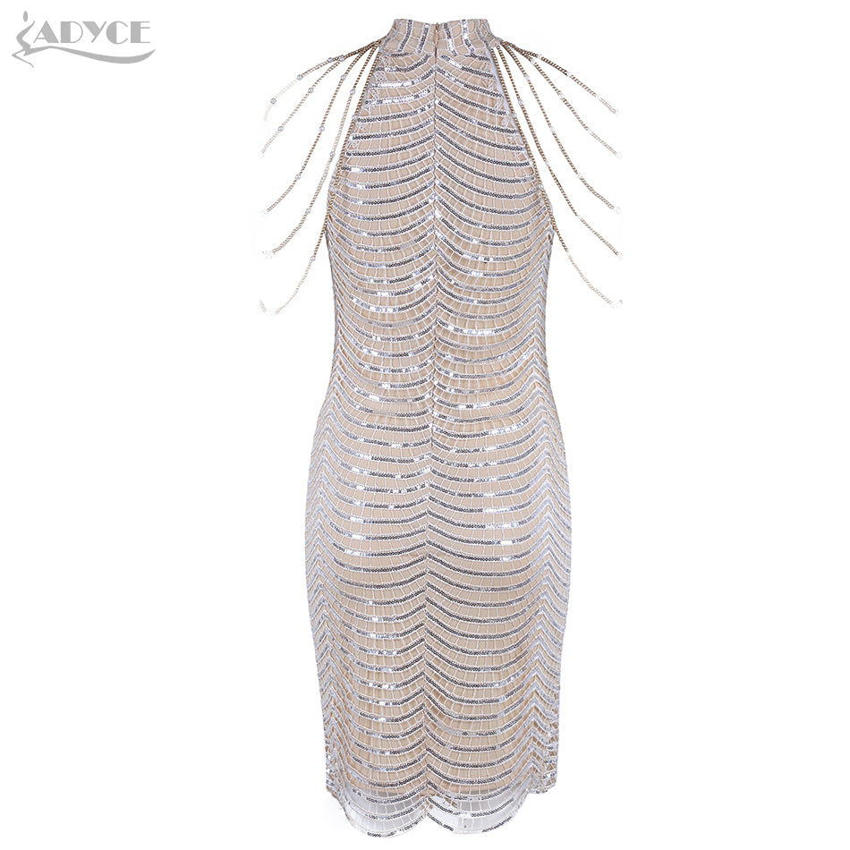 Women Fashion Pearl Beads Shimmer Sequined Embellished Sleeveless Women Mini Dress