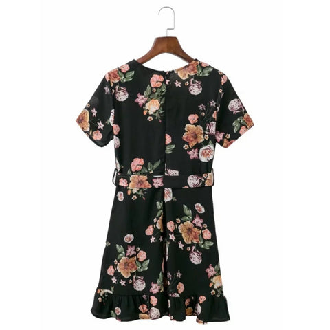 Elegant Black Bohemian Floral Print Women Mini Dress Deep V Neck Ruffles Summer Beach Dresses