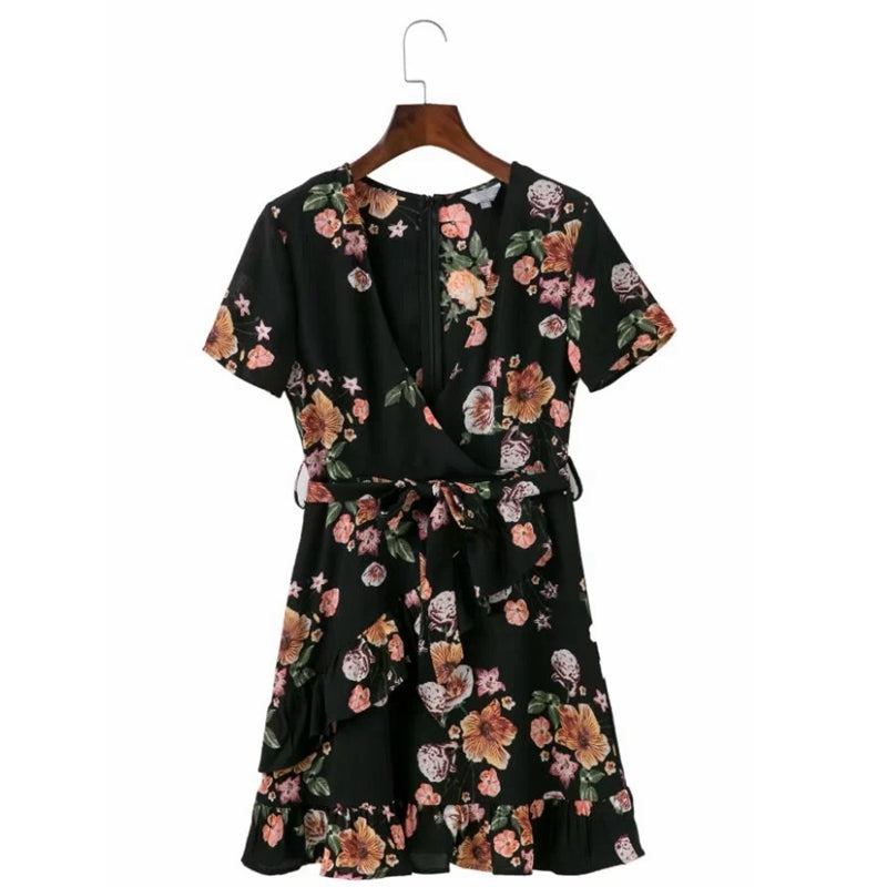Elegant Black Bohemian Floral Print Women Mini Dress Deep V Neck Ruffles Summer Beach Dresses - Style Lavish