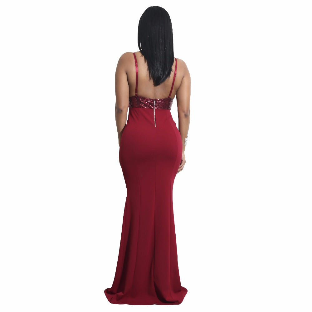 Evening Party Dresses Summer Women Spaghetti Strap Strapless Sequined Long Dress Trumpet Mermaid Dress - Style Lavish