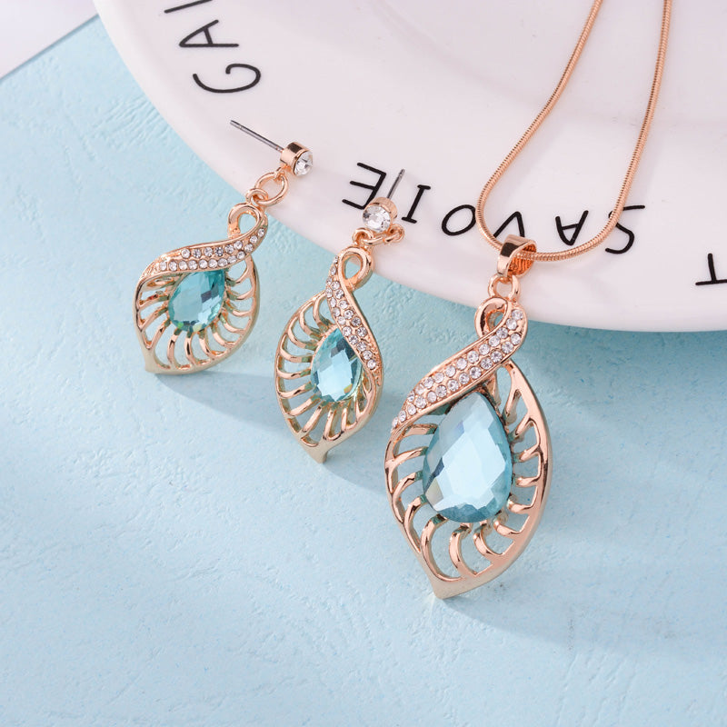 Fashion Wedding Jewelry Sets Light Blue Crystal Water Drop With Bridal African Necklace Earrings Sets - Style Lavish