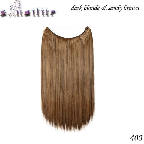 20 inches Invisible Wire No Clips in Hair Extensions Secret Fish Line Hairpieces Silky Straight real natural Synthetic - Style Lavish