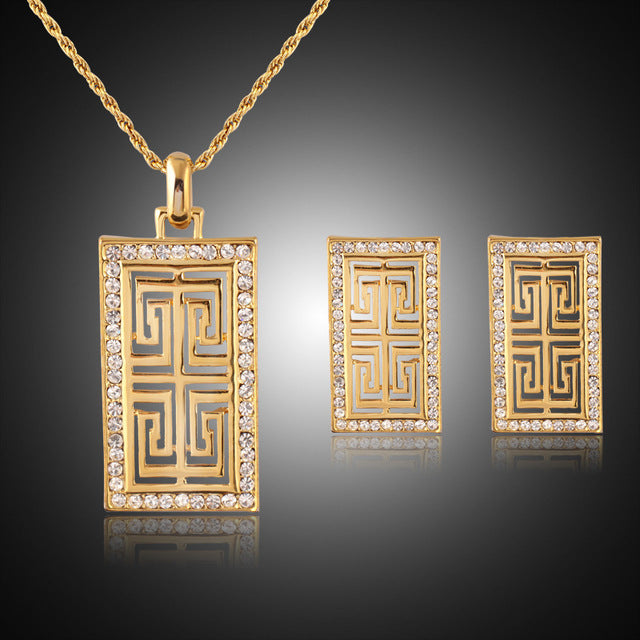 Vintage G Style Earrings Pendant Necklace Set Women Gift New Trendy  Rhinestone dubai Jewelry Sets