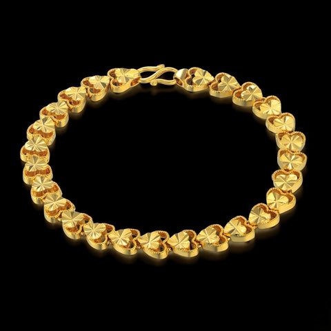 Women Jewelry  Bracelet 19cm Gold Color Heart Charm Bracelets Bangles Braslet