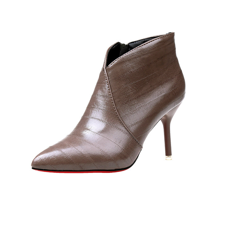 Autumn Winter Leather Women Ankle Boots Sexy Thin High Heel Pumps Woman Pointed Toe Short Boots Side Zipper Pumps - Style Lavish