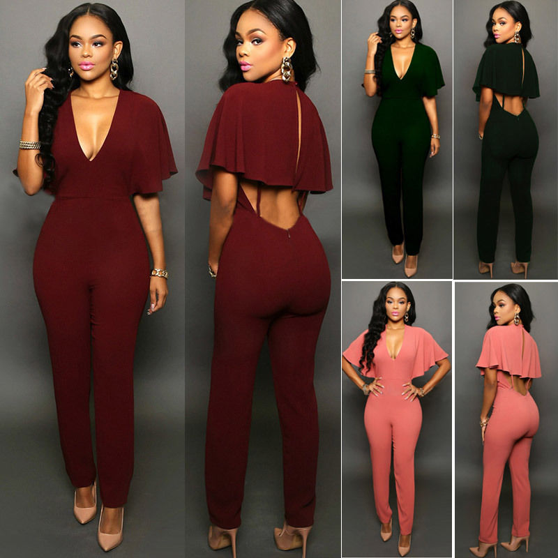 Women V-neck Jumpsuits Slim  Fit Solid Romper Trousers