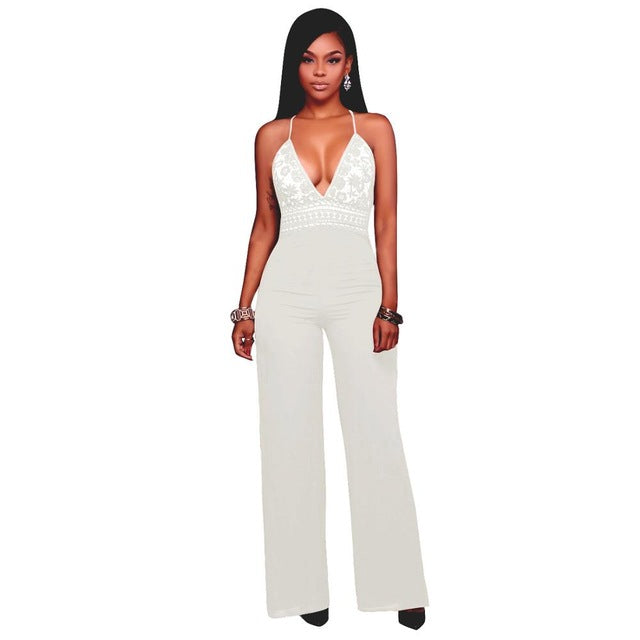 Women Jumpsuit Sexy Wide legs Summer Backless Lace Full Bodysuit Deep V Neck Overalls Rompers