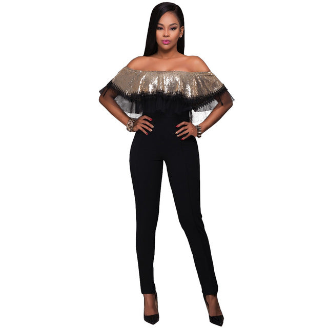 Sequin Rompers Women Jumpsuit  Elegant Off Shoulder Backless Bodycon Jumpsuit Lace Bodysuit