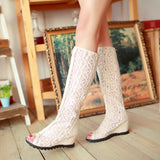 Summer Boots women Shoes  Cutout Mesh Boots High Heel Wedges Lace Spring Autumn Boots