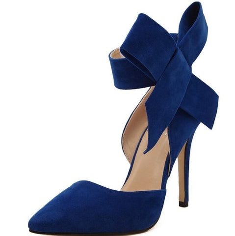 Big Bow Tie High Heels Plus Size Shoes - Style Lavish