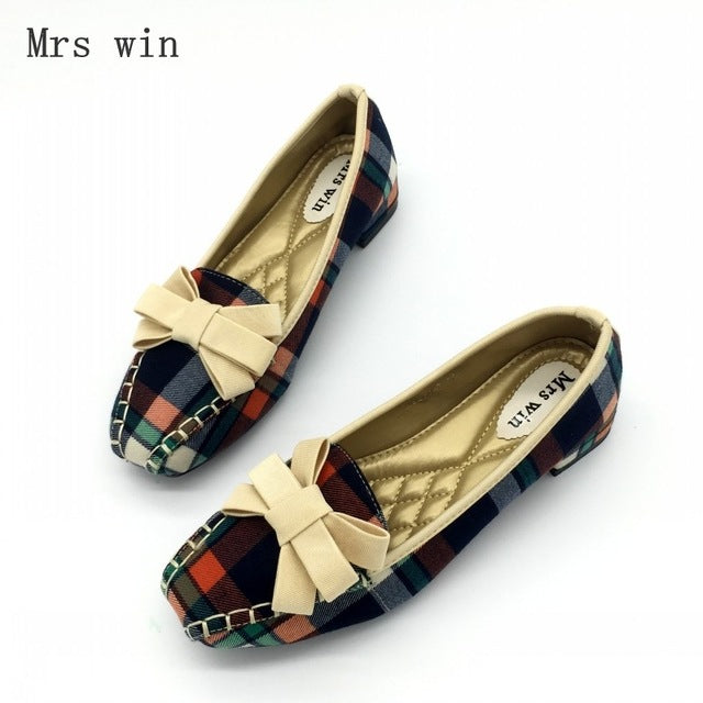 England Style Gingham Women Casual Loafers Spring Autumn Square Toe Bowtie Slip On Flats Shoes - Style Lavish