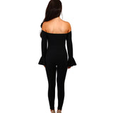 Women Spring Off Shoulder Jumpsuit Women Rompers Autumn Flare Sleeve Slim Bodycon Jumpsuit